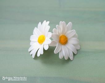 Earrings Daisy - Polymer Clay Flowers