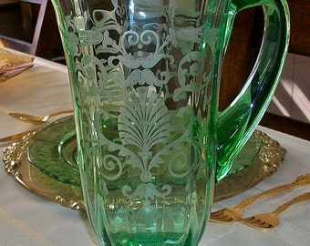 PRICE REDUCTION! ~ Fostoria Versailles Green Etched Footed Pitcher / Jug