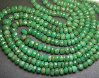 14 Inch Strand,Natural CHRYSOPRASE Faceted Rondells Size 3.5-5mm,