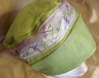 322 Lovely Lime Green with Matching Ribbon 100% Linen Turban Snood Cap Head Cover