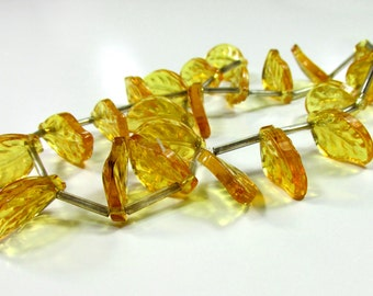 Full Strand of Acrylic Transparent Gold Leaves, 12 inches Long, 22 Pieces