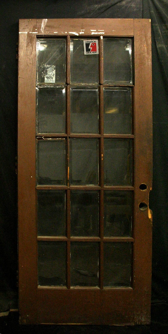 36 x83 antique oak exterior entry french door 15 window for 36 inch exterior french doors