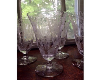 Vintage Glasses -Set of Four- Etched Glass- Floral Design