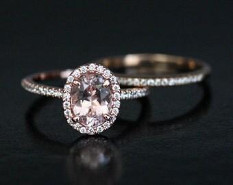 Dollar 200 DISCOUNT Peach Pink Morganite Bridal Ring Set 14k