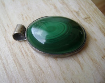 simple and beautiful:  a malachite/sterling pendant