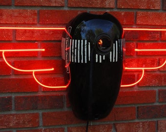 Aermacchi Tank Angel neon sculpture AMF Harley Davidson neon art