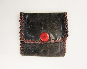 "Soft & Small Cordovan Brown Leather Coin Purse With a Red Snap and Binding - Initials 'MR' on Reverse - 1930s - Only 2 1/2"" Square"