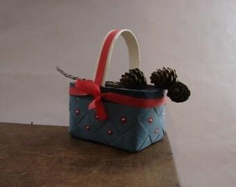 Vintage Swedish basket Small basket Handmade Scandinavian wicker basket Painted blue red basket Flower girl basket