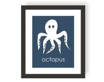 Octopus Wall Art, Modern Nautical, Marine Animals, Under The Sea Nursery, Ocean Wall Art, Sea Bedroom Theme, Kids Wall Art, Coastal Baby