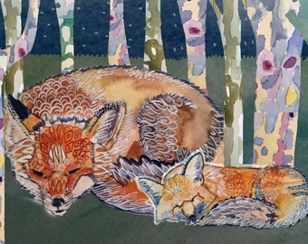Forest Foxes Greeting Card