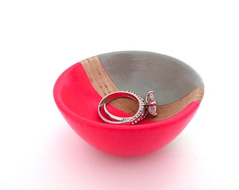 Neon pink and gray wood dish, jewelry dish, ring cup, mini jewelry holder, earring holder