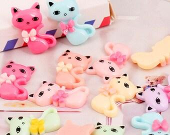 15pcs Mixed colors DIY decoration Cartoon flatback Kawaii Animal Decoden Resin Cats cabochon