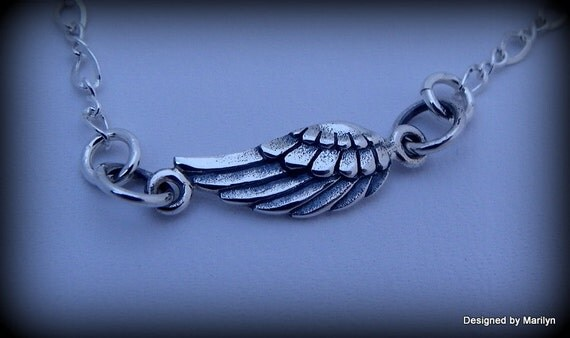 Sterling silver angel wing anklet / bracelet, heavenly jewelry, memorial jewelry, angel jewelry, wedding anklet