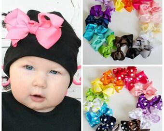 Cotton Beanie Bow Clip.Newborn Beanie.Baby Girl Beanie.Baby Beanie.Infant Beanie.Newborn Hat.Baby Hat.Bow Beanie.Cotton Hat.Hospital Hat