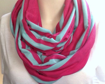 Pink and turquoise striped scarf , lightweight knit infinity scarf, colorful stripe scarf, spring scarf, womens scarf, infinity scarf, pink