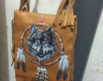Handpainted leather fringe bag