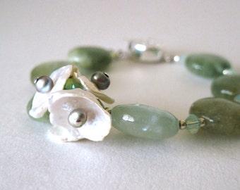 Natural Aquamarine bracelet      aquamarine and pearl bracelet
