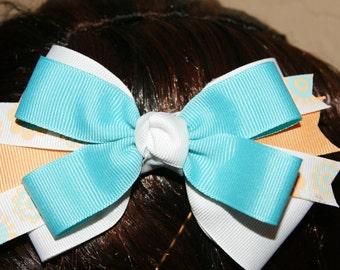 Peach and Light Blue Flower Hair Bow