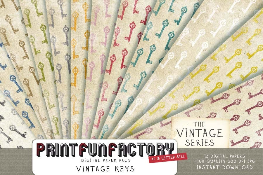 Keys Scrapbook Paper Print Fun Factory