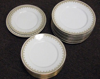 C. Aronfeldt Limoges Dinner and Salad Plate Gold and Green French Depose Dishes
