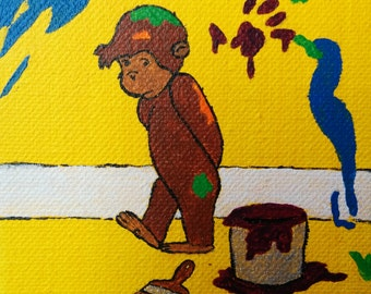 Messy painting etsy for Curious george mural