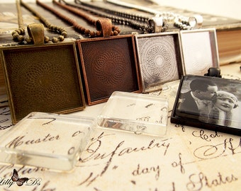 5- 25mm (1 inch) Square Pendant Trays - Blank Bezel Cabochon -  Shiny - Antique - Vintage - 5 Colors - Mix N Match