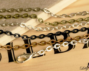 20 Rolo Cable Chain Necklaces - 24 inch(60cm) 3mm Thick - Link Chain Pendant Necklaces - Findings Necklace