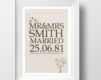 Personalised wedding print. Beautiful bespoke wedding gift, memory, keepsake