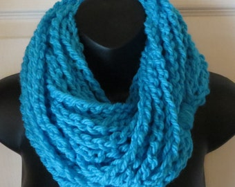 More Colors Available..Chunky Turquoise Infinity Scarf..Cowl..Neck Warmer..Crochet..Chain Necklace..Gift