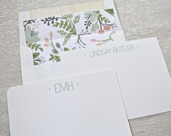 Personalized stationery flat natural white notecards with floral greenery envelope liners