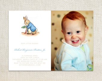 Beatrix Potter's Peter Rabbit photo kids birthday party invitations