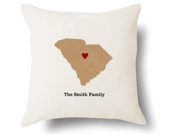 Personalized South Carolina Pillow - Text Embroidered - Off White 100% Cotton - 18x18 - South Carolina Map Pillow - 4 Color Choices