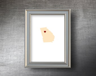 Georgia Map Art 5x7 - 4 Color Choices - UNFRAMED Die Cut Silhouette - Georgia Print - Personalized Text Optional