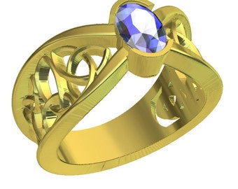 Gold Celtic Wedding Ring With Blue Sapphire and Trinity Knotwork Design in 10K 14K 18K or Palladium, Made in Your Size Cr-1023
