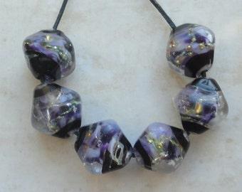 Crystal Bead Set (6) BLUE PERFECTION - OOAK Handmade Lampwork Sra