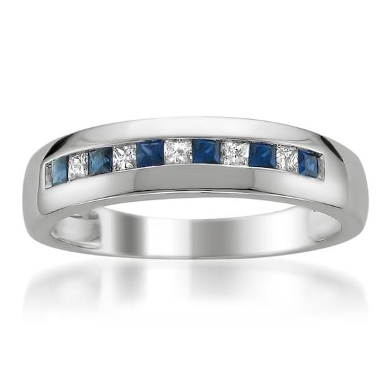 14k White Gold Princess Cut Diamond Amp Blue Sapphire Mens