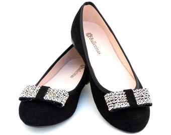 Ballet Flats Hera Ballerina Pumps Leather Ballet Shoes en Black Leather Color