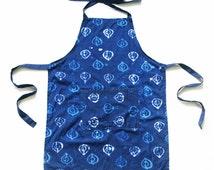 SALE: Full Apron- Blue- Batik Block Printed