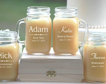 7 Personalized Beer Mug, Engraved Mason Jar Glasses with Handle, Monogrammed Wedding Party Gifts, Bridesmaids Gift, Bridesmaids Mason Jar