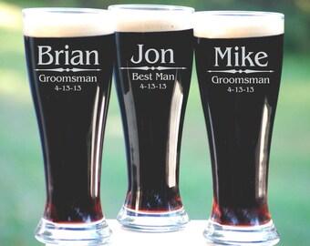 Personalized Groomsmen Gifts, Beer Glasses, Wedding Toasting Glasses, Pint Glasses, 16 Custom Beer Mugs, Gifts for Groomsmen, 16oz Glassware