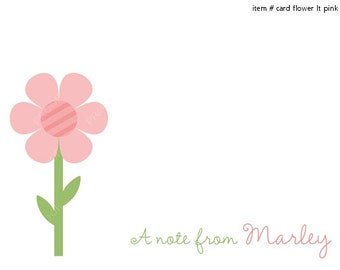 Pink Flower Note Cards Set of 10 personalized flat or folded cards