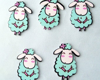 Happy Sheep wood buttons x 5  -    ( 2 options)