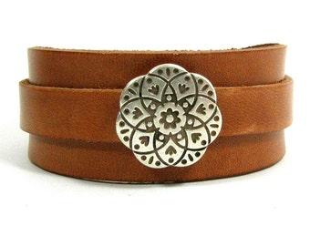 25mm Tan European Leather Adjustable Cuff Bracelet with Mandala Slider (25-007)