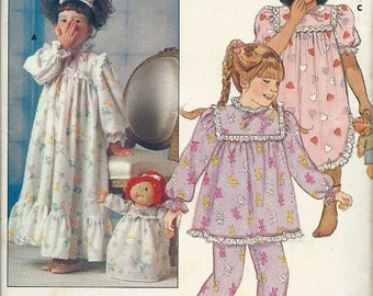 Uncut Vintage Butterick Cabbage Patch Kids CHILDREN'S NIGHTGOWN & PAJAMAS Pattern - One outfit for cpk Doll with Transfers - Sizes 4-5-6