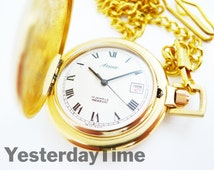 Arnex Men's Pocket Watch With Date Window Swiss Made 17 Jewel Manual Movement Complete With Chain
