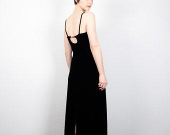 Vintage Velvet Dress 1990s Dress Black Maxi Dress 90s Dress Soft Grunge Dress Open Back Backless Dress Goth Club Kid Dress S Small M Medium