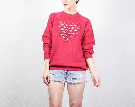 c011d2a10e4b1 Vintage sweatshirt red heart cut out diy sweatshirt jpg 570x452 80s diy  sweatshirt