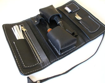 Handmade leather case for two pipes available in three colors