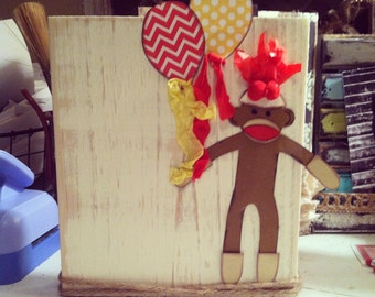 Distressed chunky wood frame with sock monkey and balloons