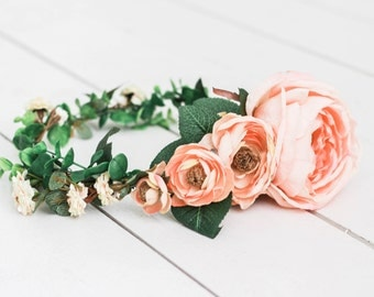 Large Flower Statement Salmon Peach and Blossom with Greenery Flower Crown
